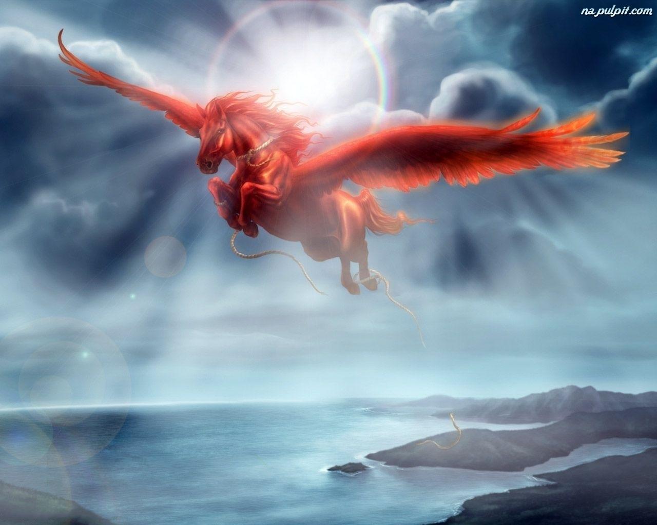 Niebo, Czerwony, Pegaz Na Pulpit